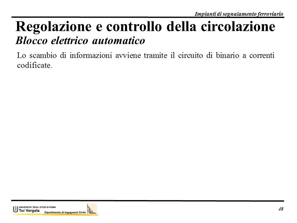 Lo scambio di informazioni avviene tramite il circuito di binario a correnti codificate. 48 Impianti di segnalamento ferroviario Regolazione e control