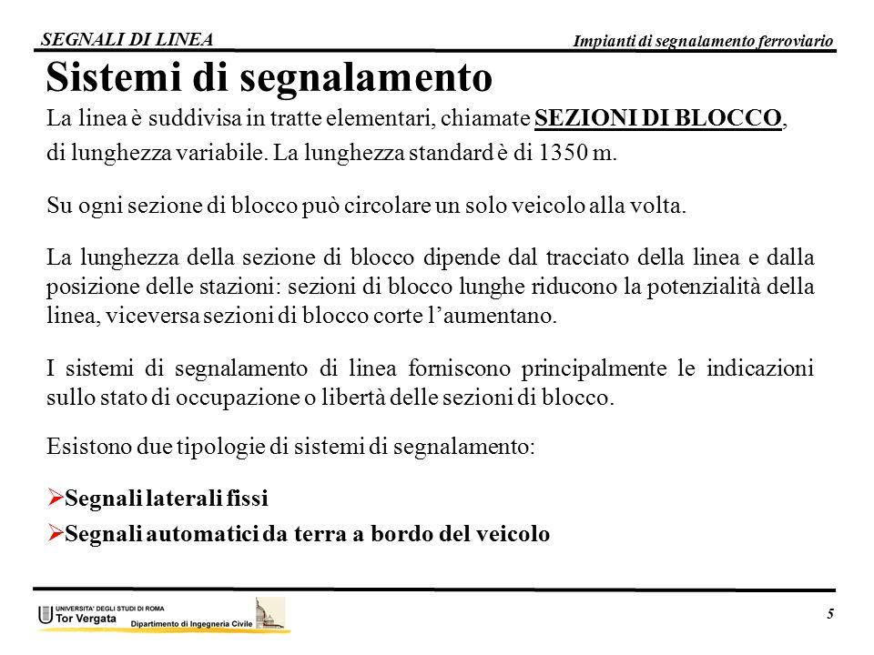 La linea è suddivisa in tratte elementari, chiamate SEZIONI DI BLOCCO, di lunghezza variabile. La lunghezza standard è di 1350 m. Su ogni sezione di b