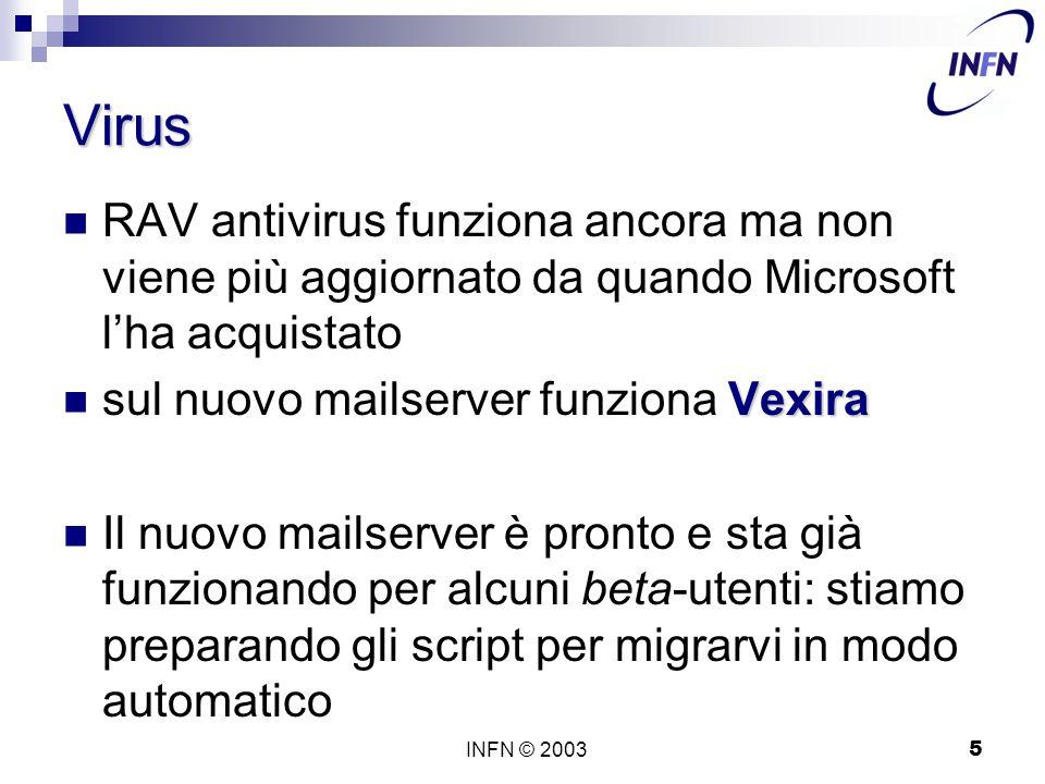 INFN © 20035 Virus RAV antivirus funziona ancora ma non viene più aggiornato da quando Microsoft l'ha acquistato Vexira sul nuovo mailserver funziona Vexira Il nuovo mailserver è pronto e sta già funzionando per alcuni beta-utenti: stiamo preparando gli script per migrarvi in modo automatico