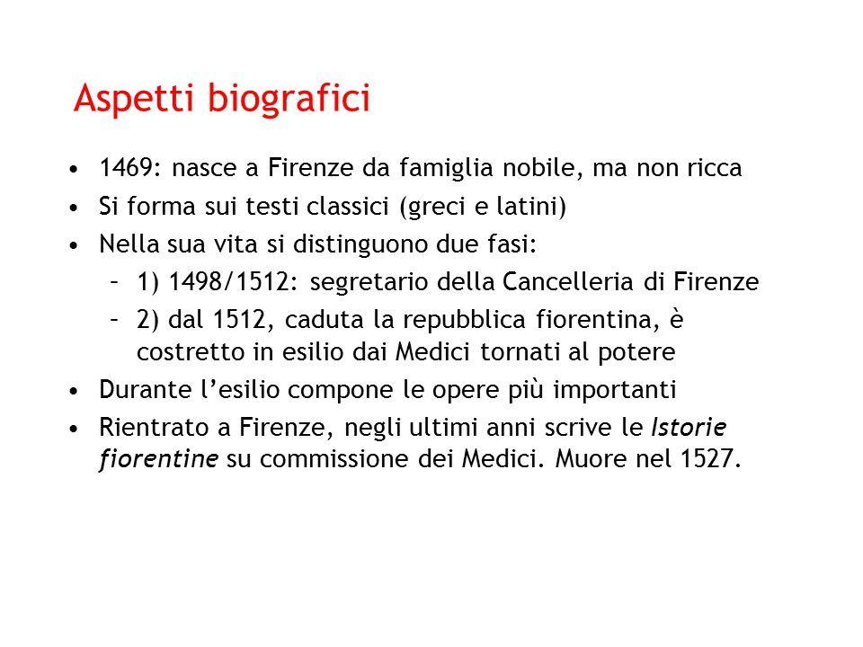 Aspetti biografici 1469: nasce a Firenze da famiglia nobile, ma non ricca Si forma sui testi classici (greci e latini) Nella sua vita si distinguono d