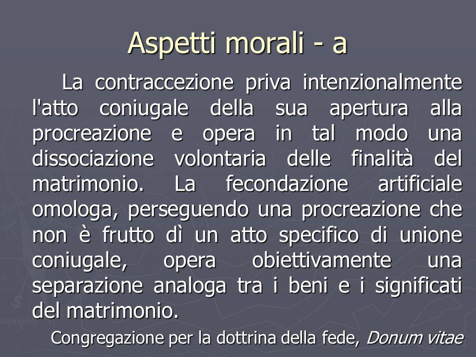 Aspetti morali - a La contraccezione priva intenzionalmente l'atto coniugale della sua apertura alla procreazione e opera in tal modo una dissociazion
