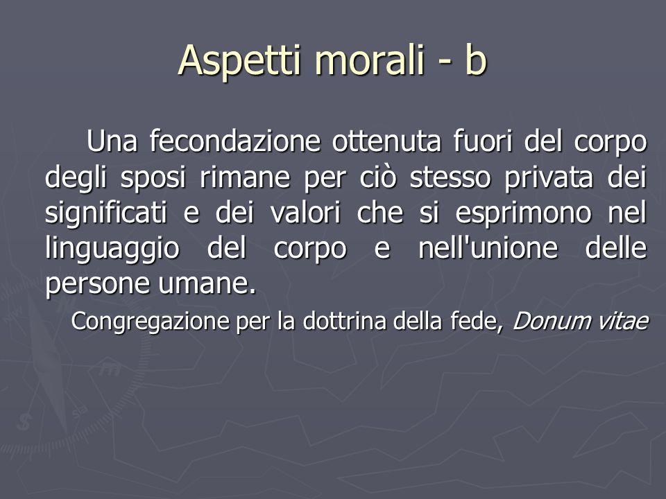 Aspetti morali - b Una fecondazione ottenuta fuori del corpo degli sposi rimane per ciò stesso privata dei significati e dei valori che si esprimono n