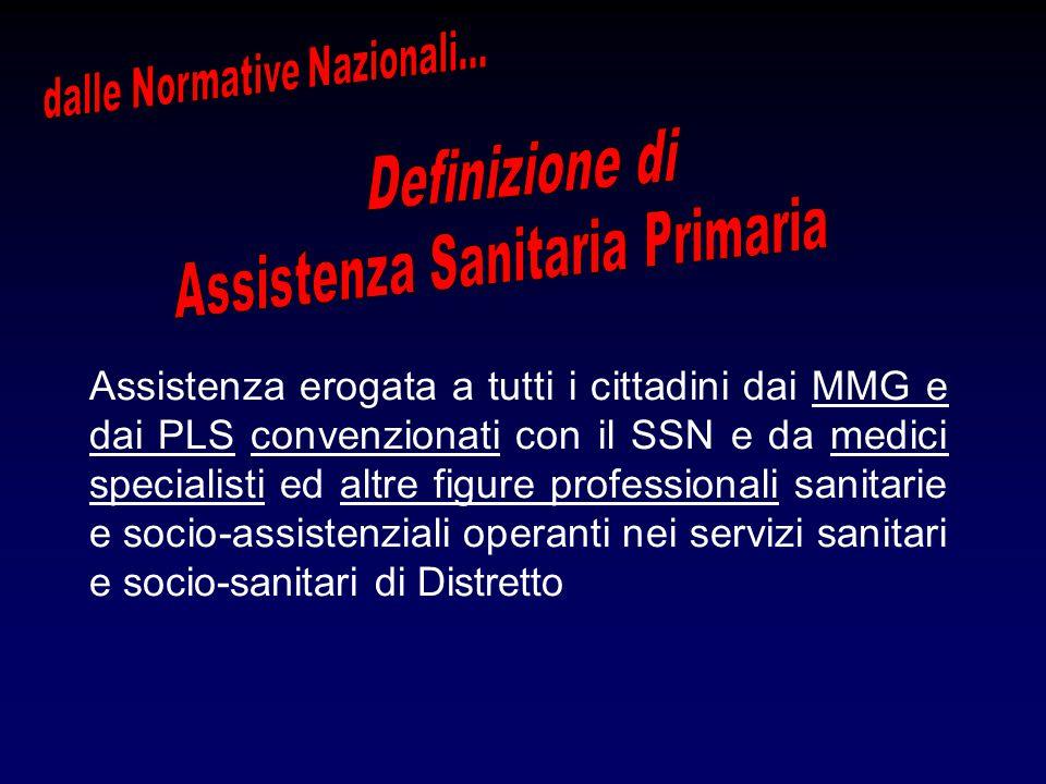 Assistenza erogata a tutti i cittadini dai MMG e dai PLS convenzionati con il SSN e da medici specialisti ed altre figure professionali sanitarie e socio-assistenziali operanti nei servizi sanitari e socio-sanitari di Distretto