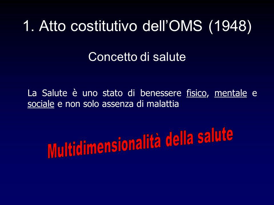 1. Atto costitutivo dell'OMS (1948) Concetto di salute La Salute è uno stato di benessere fisico, mentale e sociale e non solo assenza di malattia