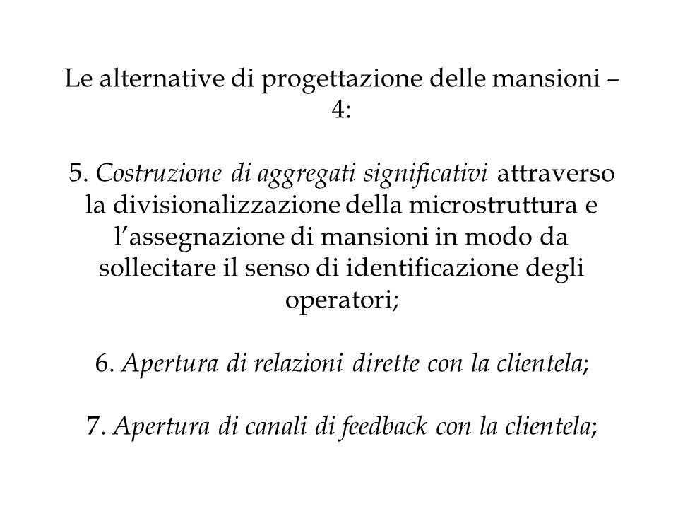 Le alternative di progettazione delle mansioni – 4: 5. Costruzione di aggregati significativi attraverso la divisionalizzazione della microstruttura e