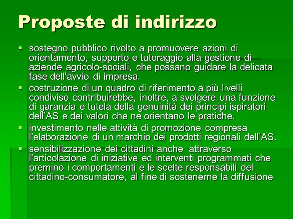 Proposte di indirizzo  sostegno pubblico rivolto a promuovere azioni di orientamento, supporto e tutoraggio alla gestione di aziende agricolo-sociali