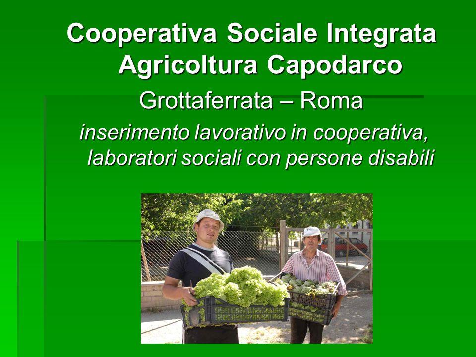 Cooperativa Sociale Integrata Agricoltura Capodarco Grottaferrata – Roma inserimento lavorativo in cooperativa, laboratori sociali con persone disabil