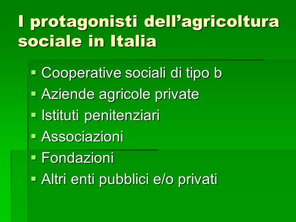 I protagonisti dell'agricoltura sociale in Italia  Cooperative sociali di tipo b  Aziende agricole private  Istituti penitenziari  Associazioni 