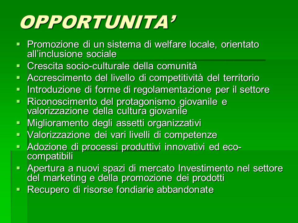 OPPORTUNITA'  Promozione di un sistema di welfare locale, orientato all'inclusione sociale  Crescita socio-culturale della comunità  Accrescimento