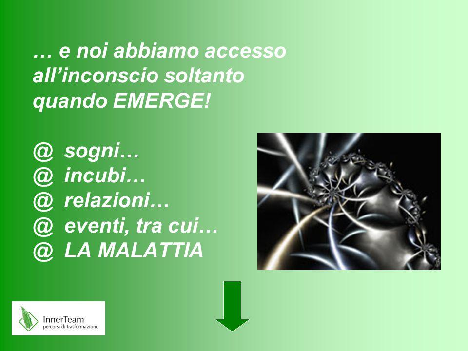 … e noi abbiamo accesso all'inconscio soltanto quando EMERGE! @ sogni… @ incubi… @ relazioni… @ eventi, tra cui… @ LA MALATTIA