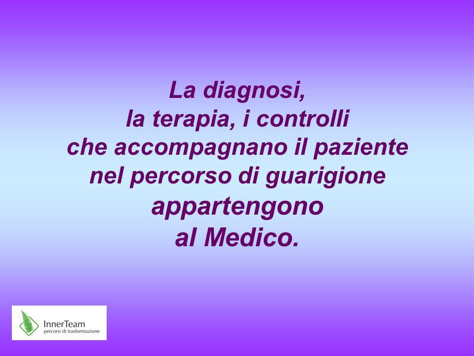 La diagnosi, la terapia, i controlli che accompagnano il paziente nel percorso di guarigione appartengono al Medico.
