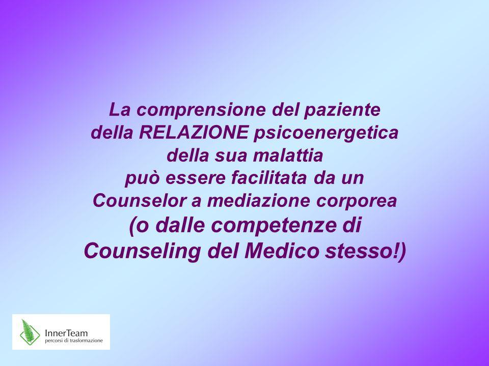 La comprensione del paziente della RELAZIONE psicoenergetica della sua malattia può essere facilitata da un Counselor a mediazione corporea (o dalle c