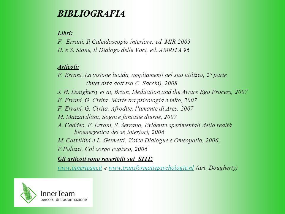 BIBLIOGRAFIA Libri: F. Errani, Il Caleidoscopio interiore, ed. MIR 2005 H. e S. Stone, Il Dialogo delle Voci, ed. AMRITA 96 Articoli: F. Errani. La vi