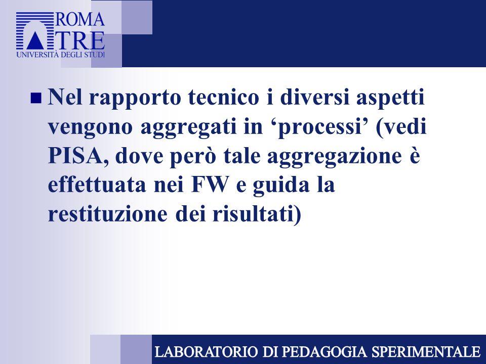Nel rapporto tecnico i diversi aspetti vengono aggregati in 'processi' (vedi PISA, dove però tale aggregazione è effettuata nei FW e guida la restituzione dei risultati)