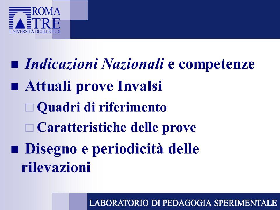 Indicazioni Nazionali e competenze Attuali prove Invalsi  Quadri di riferimento  Caratteristiche delle prove Disegno e periodicità delle rilevazioni