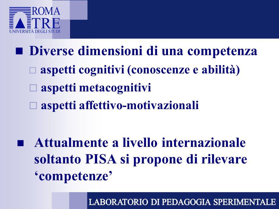 Diverse dimensioni di una competenza  aspetti cognitivi (conoscenze e abilità)  aspetti metacognitivi  aspetti affettivo-motivazionali Attualmente a livello internazionale soltanto PISA si propone di rilevare 'competenze'