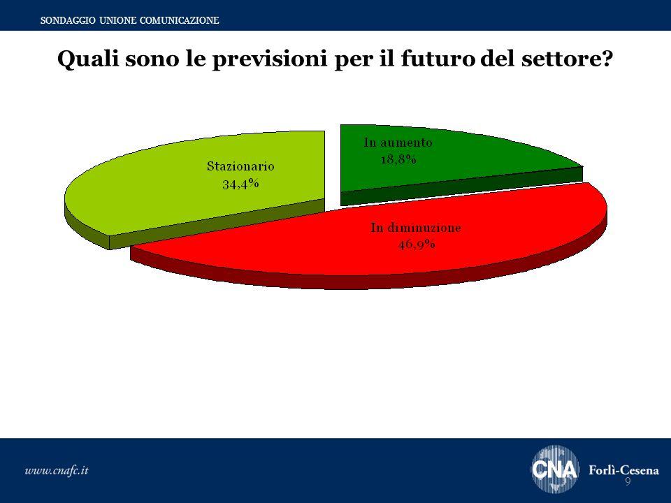 9 SONDAGGIO UNIONE COMUNICAZIONE Quali sono le previsioni per il futuro del settore?