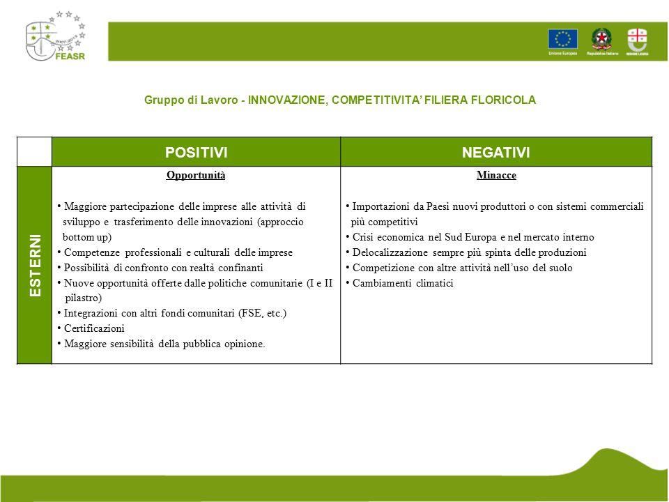 Gruppo di Lavoro - INNOVAZIONE, COMPETITIVITA' FILIERA FLORICOLA POSITIVINEGATIVI ESTERNI Opportunità Maggiore partecipazione delle imprese alle attiv
