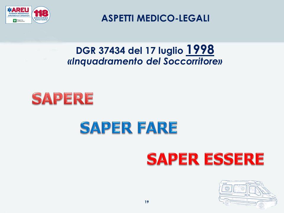 19 ASPETTI MEDICO-LEGALI DGR 37434 del 17 luglio 1998 «Inquadramento del Soccorritore»
