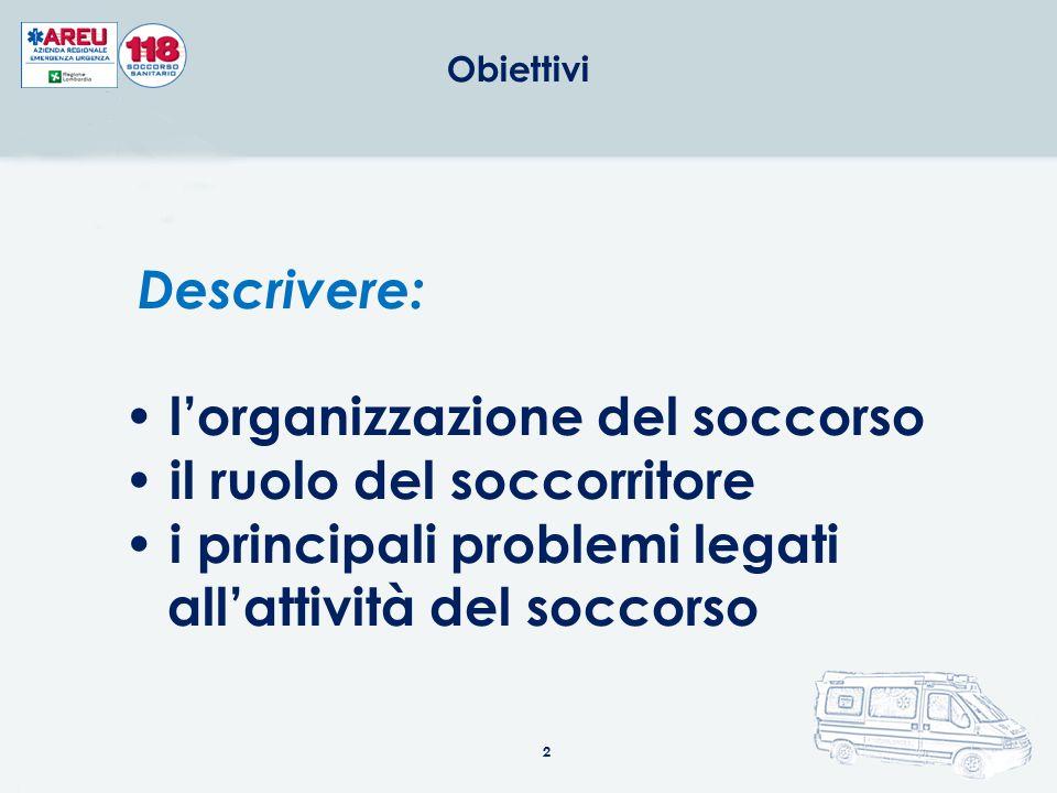 2 Descrivere: l'organizzazione del soccorso il ruolo del soccorritore i principali problemi legati all'attività del soccorso Obiettivi