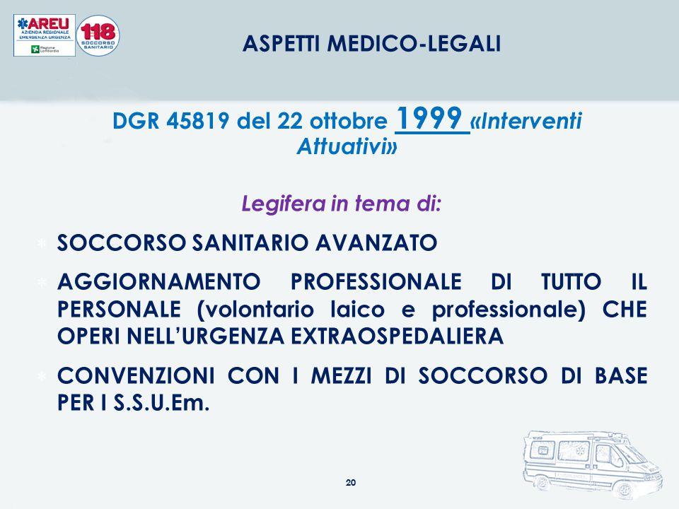 20 ASPETTI MEDICO-LEGALI DGR 45819 del 22 ottobre 1999 «Interventi Attuativi» Legifera in tema di:  SOCCORSO SANITARIO AVANZATO  AGGIORNAMENTO PROFE