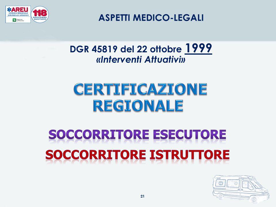 21 ASPETTI MEDICO-LEGALI DGR 45819 del 22 ottobre 1999 «Interventi Attuativi»