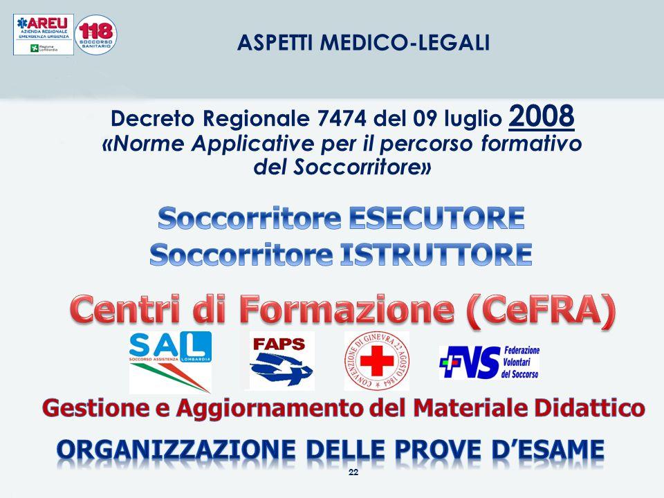 22 ASPETTI MEDICO-LEGALI Decreto Regionale 7474 del 09 luglio 2008 «Norme Applicative per il percorso formativo del Soccorritore»