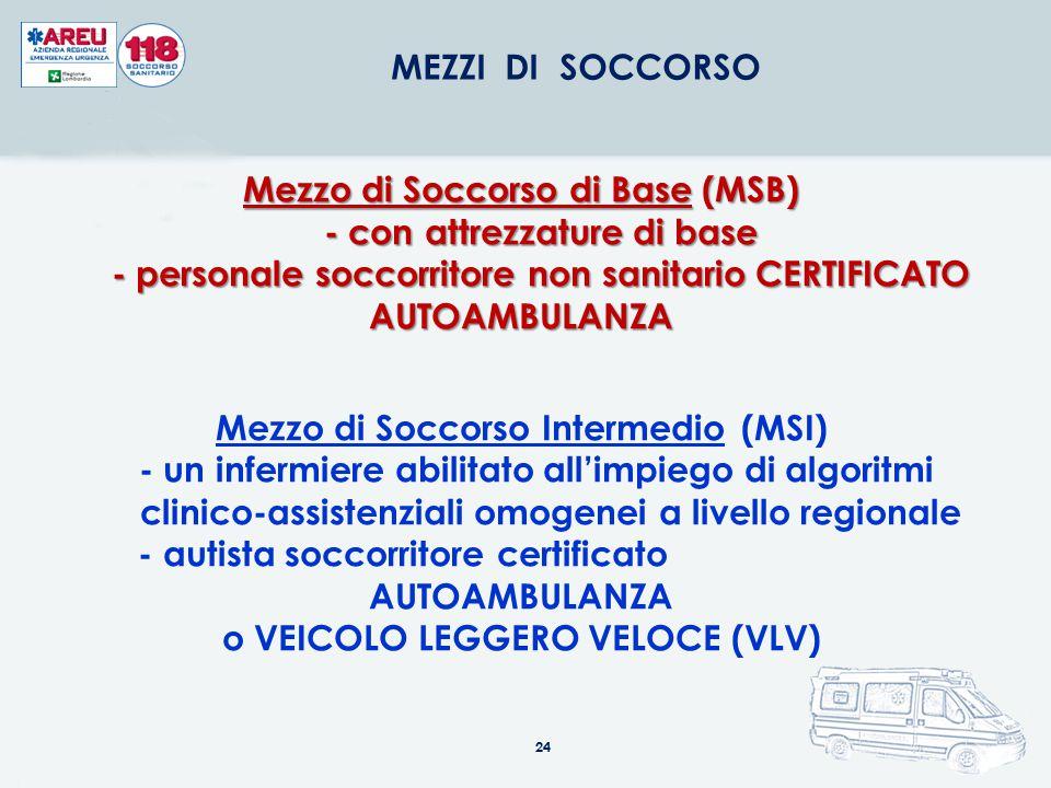 24 MEZZI DI SOCCORSO Mezzo di Soccorso di Base (MSB) - con attrezzature di base - con attrezzature di base - personale soccorritore non sanitario CERT
