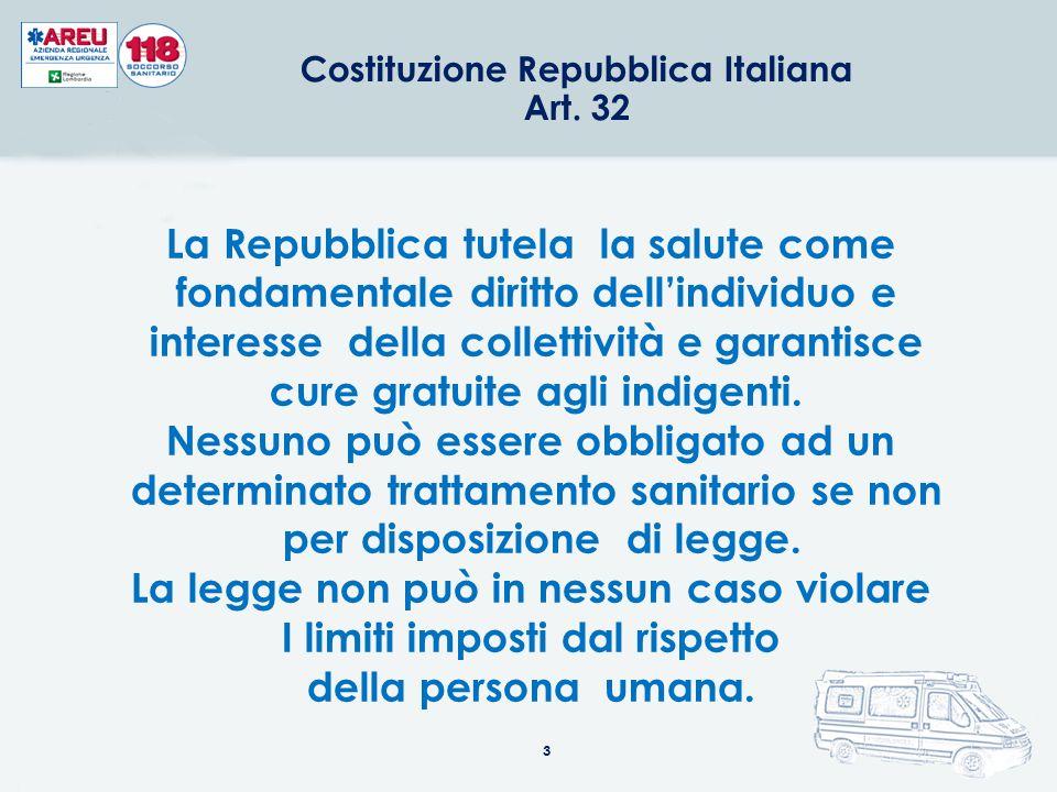 3 Costituzione Repubblica Italiana Art. 32 La Repubblica tutela la salute come fondamentale diritto dell'individuo e interesse della collettività e ga