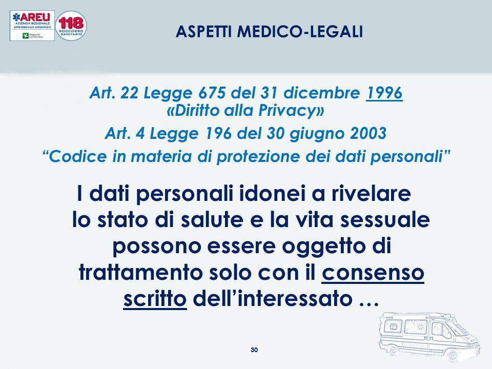 30 ASPETTI MEDICO-LEGALI I dati personali idonei a rivelare lo stato di salute e la vita sessuale possono essere oggetto di trattamento solo con il co