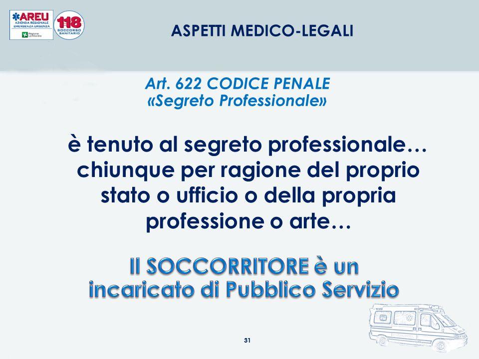 31 ASPETTI MEDICO-LEGALI Art. 622 CODICE PENALE «Segreto Professionale» è tenuto al segreto professionale… chiunque per ragione del proprio stato o uf