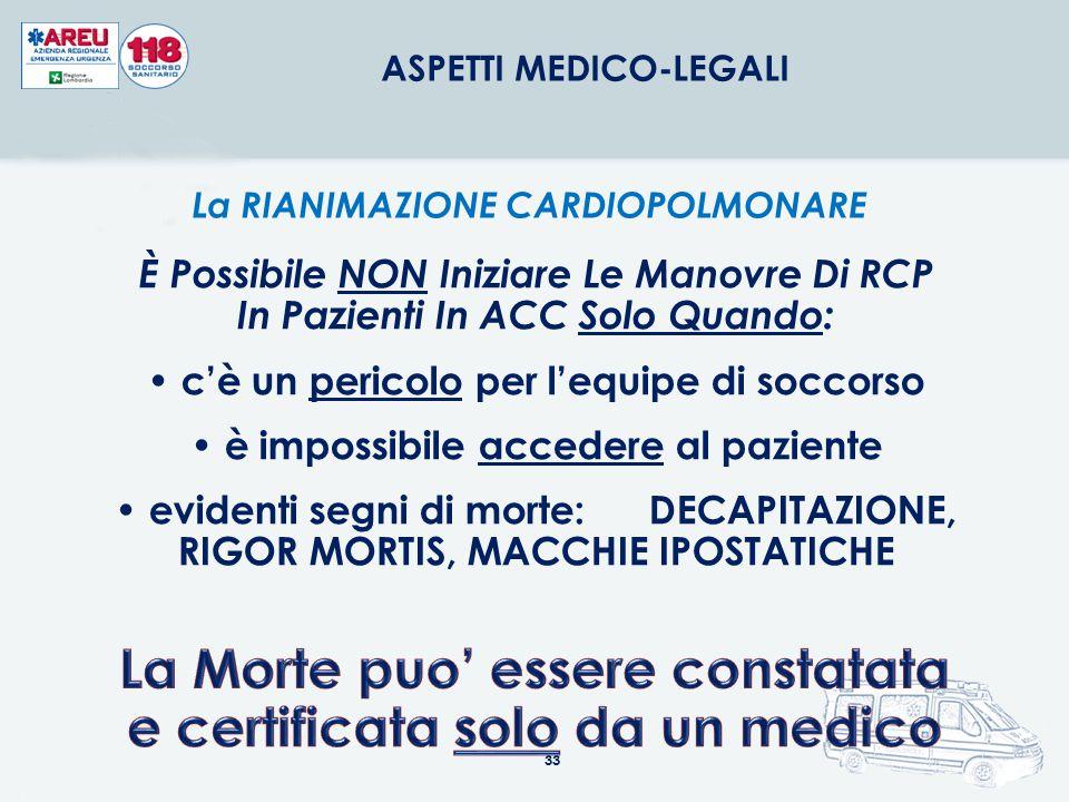 33 ASPETTI MEDICO-LEGALI La RIANIMAZIONE CARDIOPOLMONARE È Possibile NON Iniziare Le Manovre Di RCP In Pazienti In ACC Solo Quando: c'è un pericolo pe