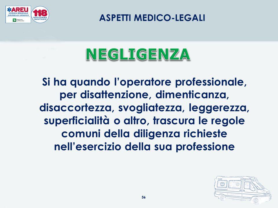 36 ASPETTI MEDICO-LEGALI Si ha quando l'operatore professionale, per disattenzione, dimenticanza, disaccortezza, svogliatezza, leggerezza, superficial