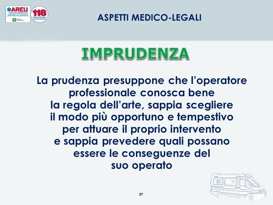 37 ASPETTI MEDICO-LEGALI La prudenza presuppone che l'operatore professionale conosca bene la regola dell'arte, sappia scegliere il modo più opportuno