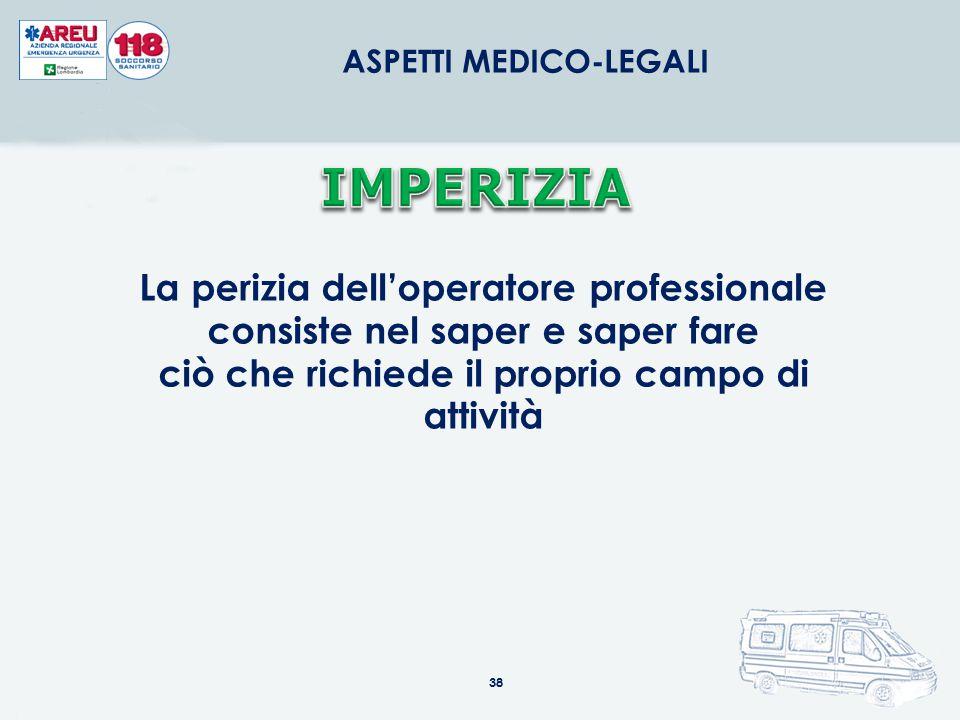 38 ASPETTI MEDICO-LEGALI La perizia dell'operatore professionale consiste nel saper e saper fare ciò che richiede il proprio campo di attività