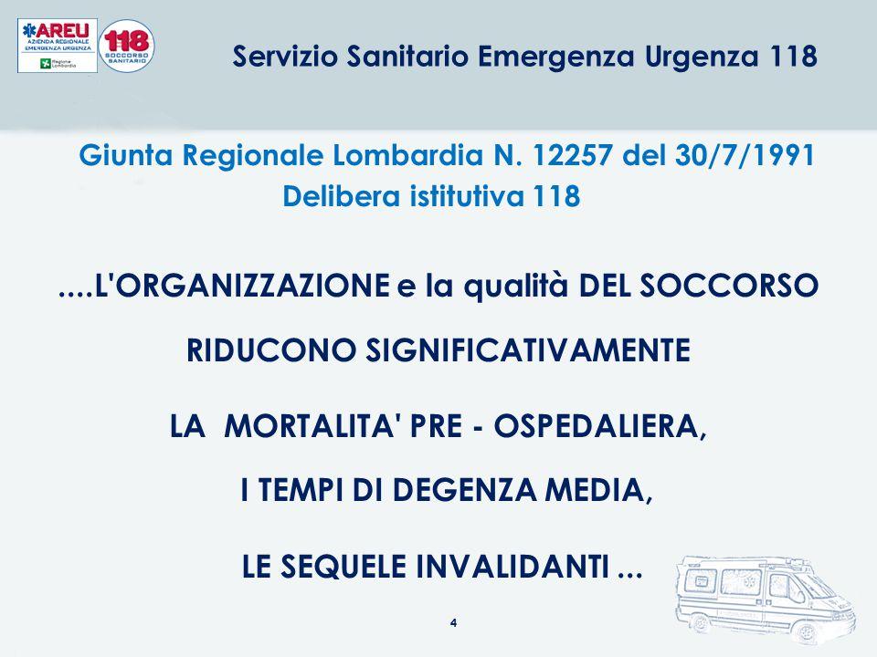 4 Servizio Sanitario Emergenza Urgenza 118....L'ORGANIZZAZIONE e la qualità DEL SOCCORSO RIDUCONO SIGNIFICATIVAMENTE LA MORTALITA' PRE - OSPEDALIERA,