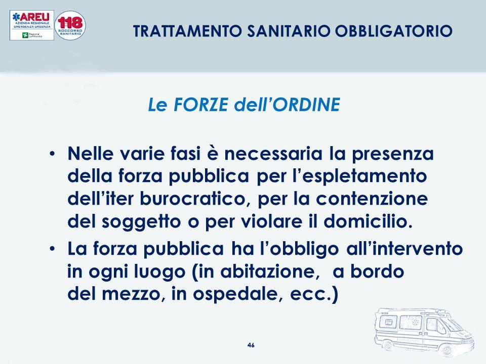 46 Nelle varie fasi è necessaria la presenza della forza pubblica per l'espletamento dell'iter burocratico, per la contenzione del soggetto o per viol