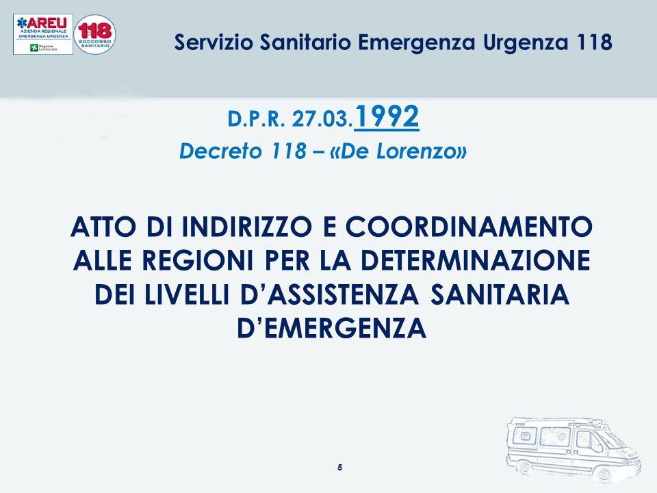 5 ATTO DI INDIRIZZO E COORDINAMENTO ALLE REGIONI PER LA DETERMINAZIONE DEI LIVELLI D'ASSISTENZA SANITARIA D'EMERGENZA D.P.R. 27.03. 1992 Decreto 118 –