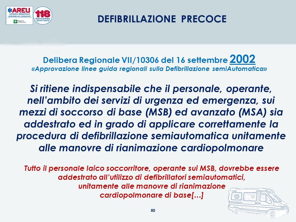 50 DEFIBRILLAZIONE PRECOCE Delibera Regionale VII/10306 del 16 settembre 2002 «Approvazione linee guida regionali sulla Defibrillazione semiAutomatica