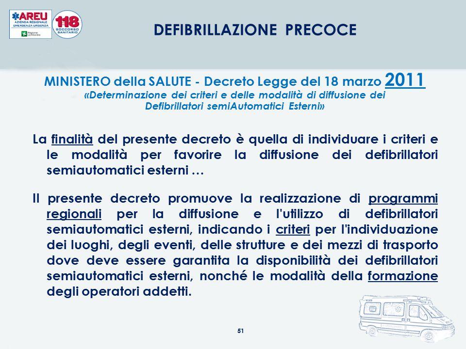 51 DEFIBRILLAZIONE PRECOCE MINISTERO della SALUTE - Decreto Legge del 18 marzo 2011 «Determinazione dei criteri e delle modalità di diffusione dei Def