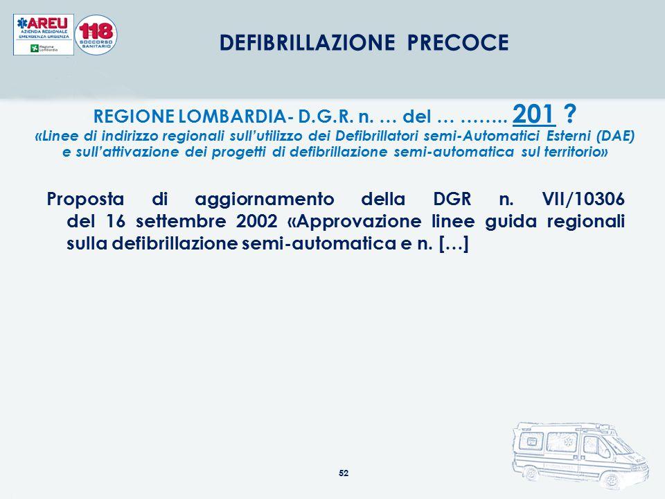 52 DEFIBRILLAZIONE PRECOCE REGIONE LOMBARDIA- D.G.R. n. … del … …….. 201 ? «Linee di indirizzo regionali sull'utilizzo dei Defibrillatori semi-Automat