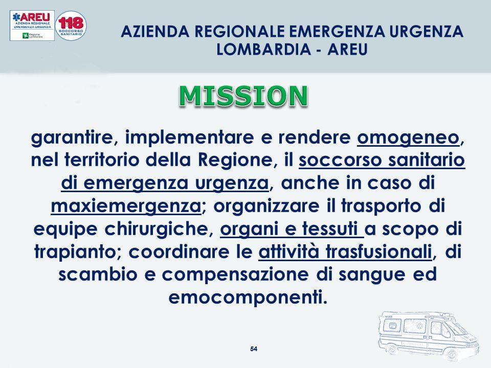 54 AZIENDA REGIONALE EMERGENZA URGENZA LOMBARDIA - AREU garantire, implementare e rendere omogeneo, nel territorio della Regione, il soccorso sanitari