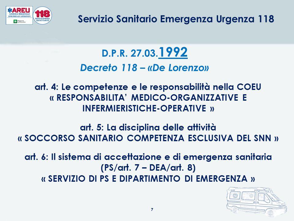 7 D.P.R. 27.03. 1992 Decreto 118 – «De Lorenzo» art. 4: Le competenze e le responsabilità nella COEU « RESPONSABILITA' MEDICO-ORGANIZZATIVE E INFERMIE