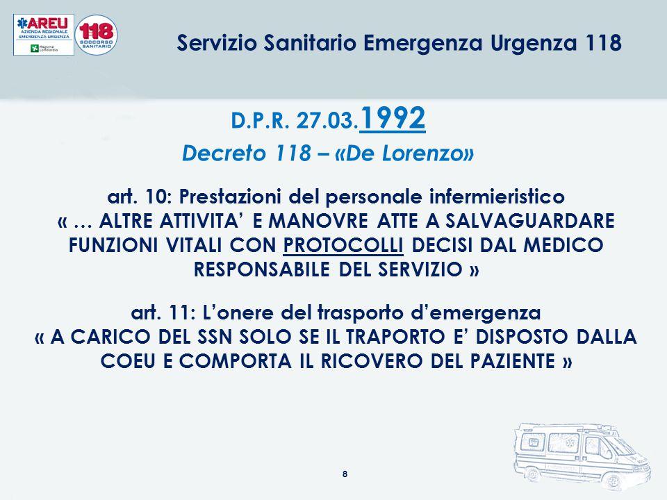 8 D.P.R. 27.03. 1992 Decreto 118 – «De Lorenzo» art. 10: Prestazioni del personale infermieristico « … ALTRE ATTIVITA' E MANOVRE ATTE A SALVAGUARDARE