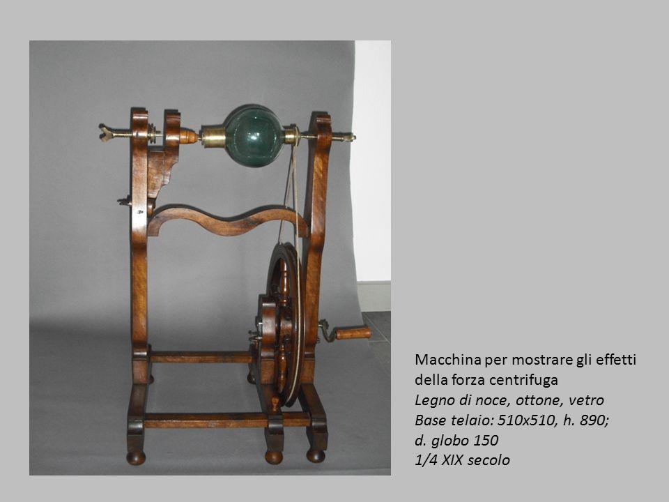 Macchina per mostrare gli effetti della forza centrifuga Legno di noce, ottone, vetro Base telaio: 510x510, h.