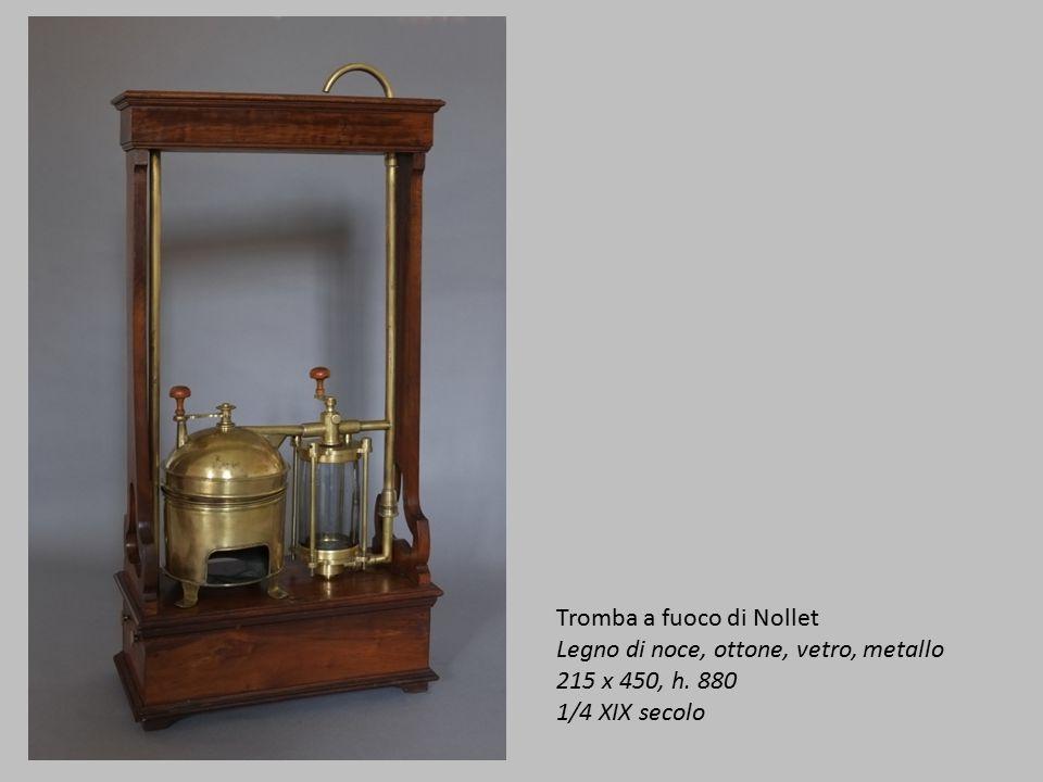 Tromba a fuoco di Nollet Legno di noce, ottone, vetro, metallo 215 x 450, h. 880 1/4 XIX secolo