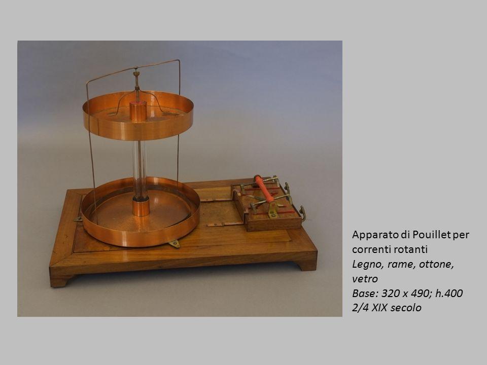 Apparato di Pouillet per correnti rotanti Legno, rame, ottone, vetro Base: 320 x 490; h.400 2/4 XIX secolo