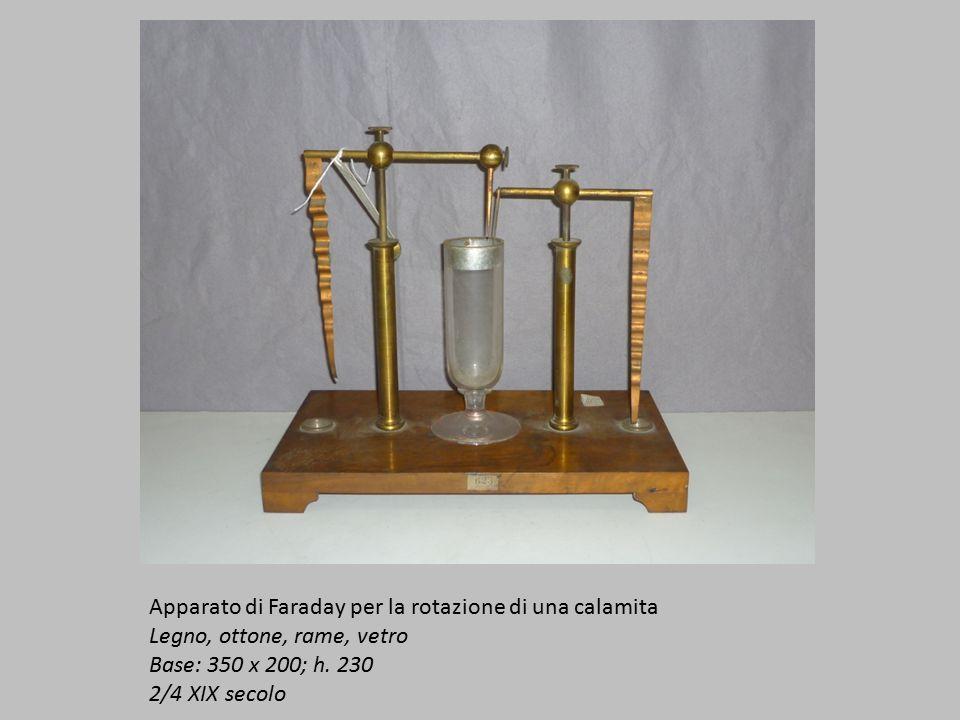 Apparato di Faraday per la rotazione di una calamita Legno, ottone, rame, vetro Base: 350 x 200; h.