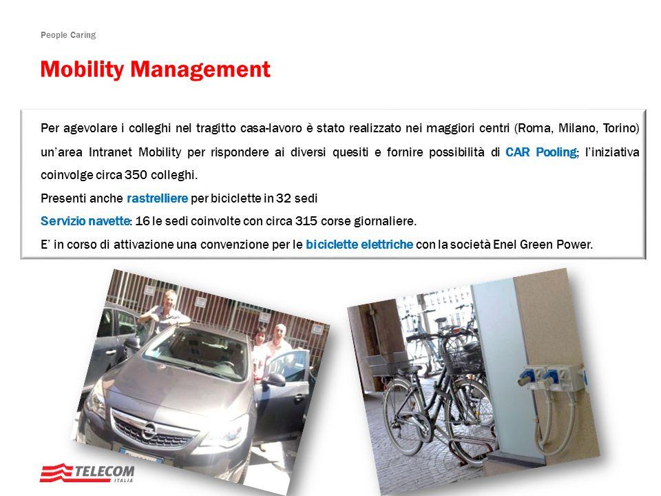 People Caring Per agevolare i colleghi nel tragitto casa-lavoro è stato realizzato nei maggiori centri (Roma, Milano, Torino) un'area Intranet Mobility per rispondere ai diversi quesiti e fornire possibilità di CAR Pooling; l'iniziativa coinvolge circa 350 colleghi.