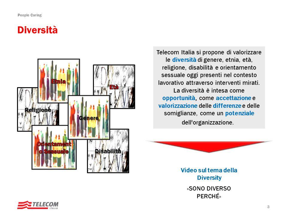 People Caring 3 Telecom Italia si propone di valorizzare le diversità di genere, etnia, età, religione, disabilità e orientamento sessuale oggi presenti nel contesto lavorativo attraverso interventi mirati.